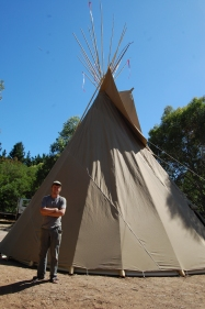 Took a group of 10 guys about 4 hours to set up this 25-foot teepee