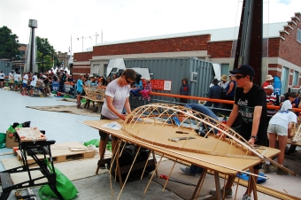Building boats at the wooden boat festival