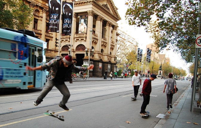 Skateboarders on Flinders Street