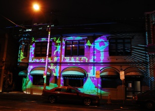 Bonus photo: art installation in the city, projecting moving images onto the side of buildings.