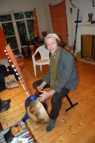 Roderick playing his kora, a beautiful african harp type instrument