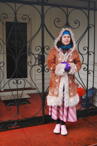 Monika in front of her house in the mountains near Belgrave