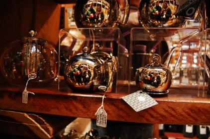cute teapots at fancy tea store