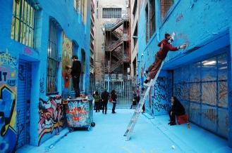 Hari Krishna dude on ladder, Graffiti Laneway #8099335, Melbourne