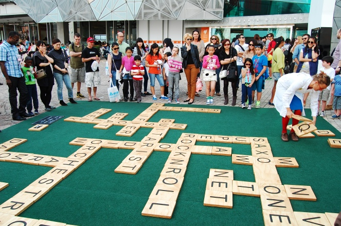 Giant scrabble game in Federation Square