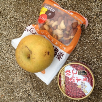 Our lunch at the top of the mountain. Unfortunately the can of beans had sugar in it.