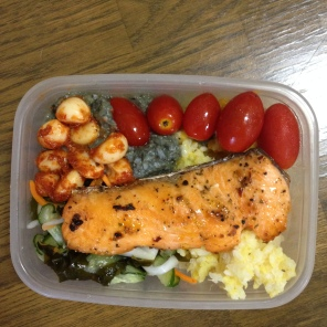 I bring my own lunch to school. I eat fish but not meat; it's called a pescatarian!