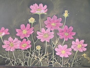 Chalk flowers that someone drew at my school!