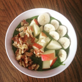 My typical breakfast! Green smoothie (broccoli, spinach, cucumber, banana, avocado, water) topped with walnuts, apple slices, and bananas