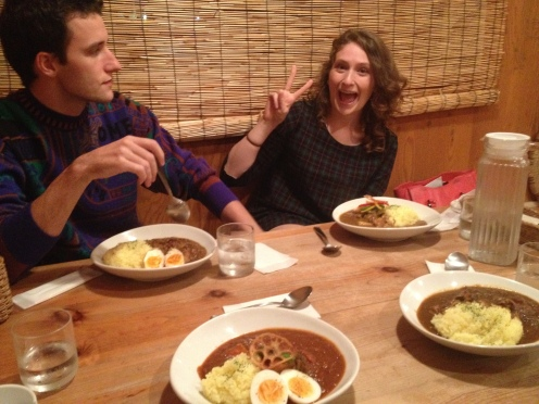 Curry with new friends! Eva and Barry are from Georgia