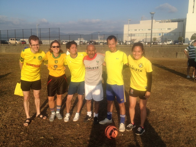 This is team Brazil. I was in a soccer tournament last weekend. Go team!