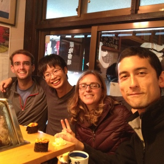 Early morning sushi at the Tsujiki fish market with new friends. All these guys play ultimate frisbee.