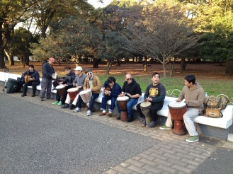 At a park in Tokyo I was reminded of Santa Cruz, California. There was a drum circle!