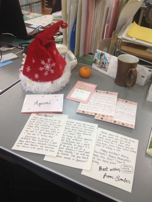 I made a mailbox at school, and amazingly someone wrote me a letter! I wrote her back. It was a really nice exchange.