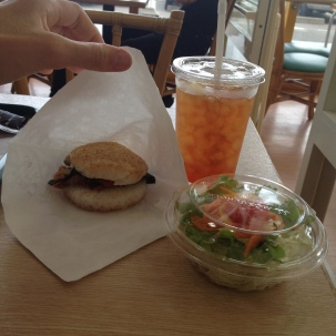 Mossburger (a Japanese burger chain) has a vegan option! Rice bun with grilled veggies on the inside, plus a salad and ice tea. I think it was about 600 yen