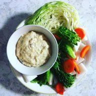 Tofu white bean dip with cabbage, carrot, daikon, and goya.