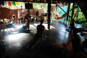 Morning yoga classes in the bamboo treehouse
