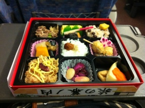 There was no vegetarian bento that I saw, but I gave the meat parts to Kaoru who gladly accepted.