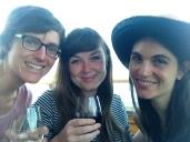 Me, Julia, and Gina enjoying wine on the pier