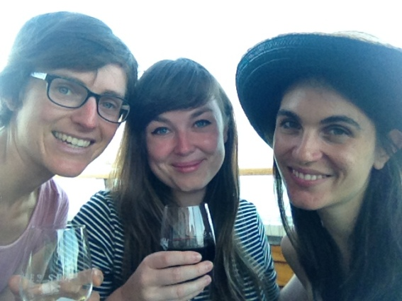 Me, Julia, and Gina enjoying wine on the pier